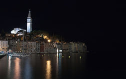 Port of Rovinj in the night in Croatia Royalty Free Stock Images