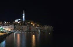 Port of Rovinj in the night in Croatia Stock Photo