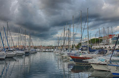 Port of Rovinj in the summer cloudy day Royalty Free Stock Photography