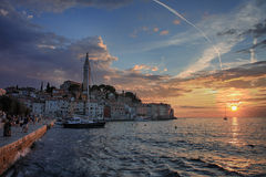 Port of Rovinj in the sunset time in Croatia Stock Photo