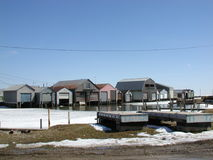 Port Rowan Boat Houses and Dock Stock Image