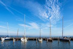 Port with sailing ships in Dierhagen, Germany.  royalty free stock image