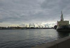 The Port Of Saint-Petersburg. Neva river Royalty Free Stock Images