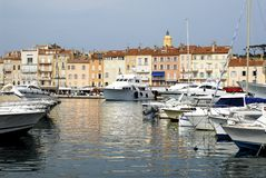 Port of Saint Tropez. Port de Saint Tropez with boats and church and buildings in the background Royalty Free Stock Photo