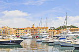 Port of Saint-Tropez, France. Panoramic view of the port of Saint-Tropez, France royalty free stock image