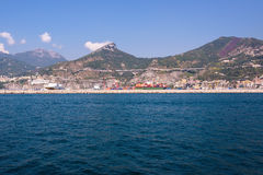 Port of Salerno seen from the sea Royalty Free Stock Photo