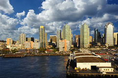 Port of San Diego, California. The Port of San Diego, with cityscape behind royalty free stock photos