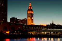 Port of San Francisco. SF Ferry Building at Night Royalty Free Stock Photo