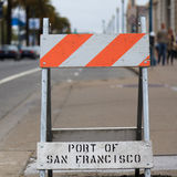 Port of san francisco barrier. A barrier shot in San Francisco with the indication of the port Royalty Free Stock Images