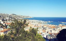 Port of san remo and city royalty free stock photos