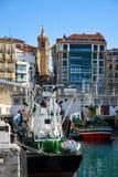 In the port of San Sebastian stock image