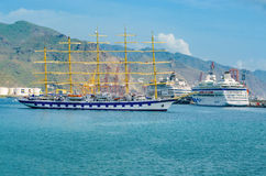 In the port of Santa Cruz. A five-masted sailing ship, the Royal Clipper Vollschiff. Places to See in Santa Cruz, the capital of T Stock Photography