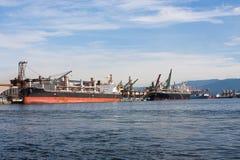 Port of Santos, Brazil. Cargo ships docked at the Port of Santos, Brazil Royalty Free Stock Image