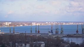 Port by the sea with large cranes.  stock video