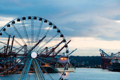 Port of Seattle Ferris Wheel Stock Photos
