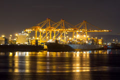 Port of Seattle at Night Closeup Royalty Free Stock Photo