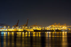 Port of Seattle at Night Royalty Free Stock Photos