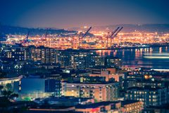 Port of Seattle at Night Royalty Free Stock Image