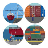 Port services. Loading containers on ships. Workers in harbor. Vector illustration Stock Image