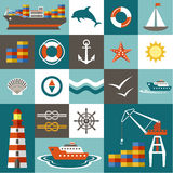 Port set. Port set in the style of a flat design. Vector illustration Stock Image