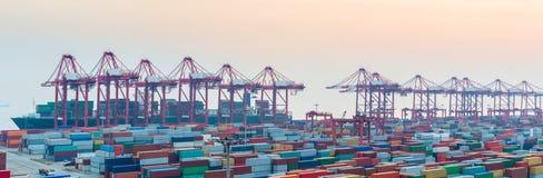 Port of shanghai yangshan at dusk stock photos