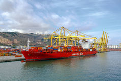 Port and ship loaded with containers port of Barcelona Spain Stock Image