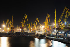 Port and ship at night Royalty Free Stock Photo
