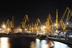 Port and ship at night Royalty Free Stock Photo