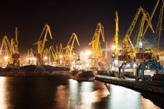 Port and ship at night Royalty Free Stock Photos