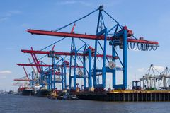 Port of shipment. With loading cranes  in hamburg Royalty Free Stock Photo