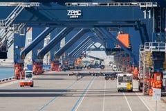 Port shipping gantry cranes royalty free stock photos