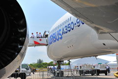 Port side of Airbus A350-900 XWB MSN 003 plane at Singapore Airshow Royalty Free Stock Photos