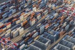 Port Side Container Stacks Stock Photo