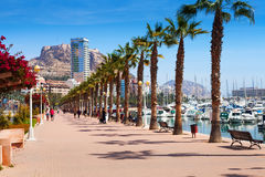 Port side embankment in Alicante Stock Images