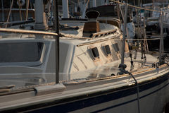Port side of the sail boat Stock Photo