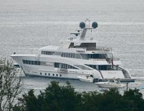 Port Side View of the ROCK.IT. This is a Summer picture of the port side view  of the yacht: ROCK.IT off Lincoln Park on Lake Michigan located in Chicago Royalty Free Stock Photo