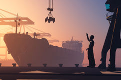The port. Silhouette tanker and working in the port Royalty Free Stock Images