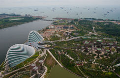 Port of Singapore and Gardens by the bay Royalty Free Stock Photography