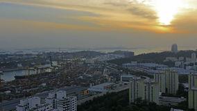 Port of Singapore Industrial Scene at Sunset 1080p Royalty Free Stock Photos