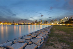 Port of Singapore and Skyline Royalty Free Stock Image