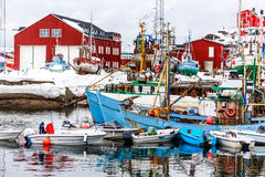 Port of Sisimiut the 2nd largest Greenlandic city Royalty Free Stock Photo