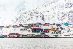 Port of Sisimiut the 2nd largest Greenlandic city Royalty Free Stock Image