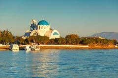 The port of Skala in Agistri, Greece Stock Image
