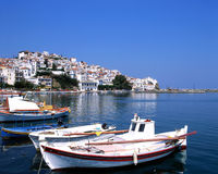 The port of Skopelos Stock Photos