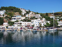 Port, Skyros Greek Island. Linaria, the port for the Sporades group Greek Island Skyros, with boats in harbour and typical white cubist buildings royalty free stock images