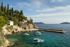 Port at a small Croatian town Trsteno Royalty Free Stock Photography