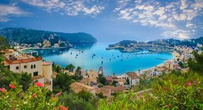 Port Soller in Mallorca from the air. Aerial panoramic view of the port Soller in Mallorca island, Spain Stock Photos