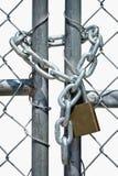 Port som låsas med kedjan och hänglåset Arkivfoto