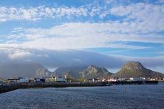 Port of Sorland on Vaeroy. Fishing port of Sorland on island Vaeroy on Lofoten islands, Norway Stock Images