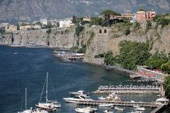 The port of Sorrento, Italy. Sorrento is a town overlooking the Bay of Naples in Southern Italy. The Sorrentine Peninsula has views of Naples, Vesuvius and the stock image